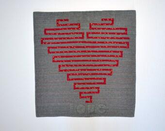 Heart Wall Hanging, Heart Quilt, Heart Wall Art, Mini Quilt, Red Heart
