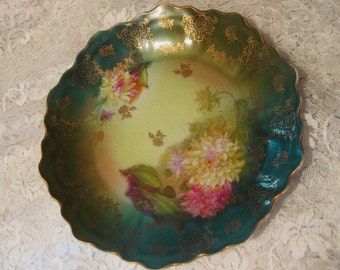 Antique 1880s-1910 Hand Painted Floral and Gold Leaf Design Bavarian China Dish-Zeh, Scherzer & Co Gorgeous