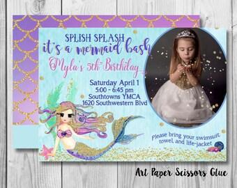 Mermaid Invitations/ Birthday Invitations/ Mermaid Party Invitations/ Digital Invitations/ Little Mermaid Personalized Invitations/ Photo