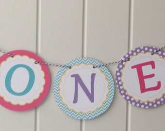 "CUTE MERMAID Happy Birthday Highchair Banner 1st Birthday Party ""ONE"" - Party Packs Available"