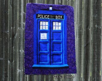 Police Box - twin sized quilt pattern - Tardis