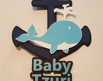 Anchor and whale, nautical personalized cake topper, centerpiece, party decoration, baby shower