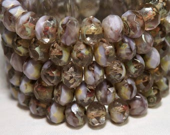 8x6MM Mix of Lavender Picasso Transparent and Opaque Lavender Glass Beads 10 Pcs