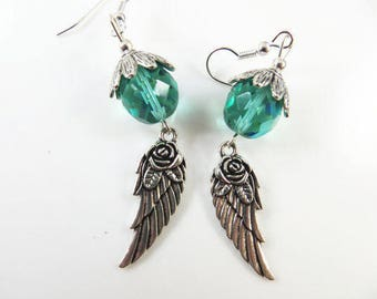 Aqua angel wing earrings