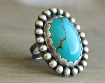 Turquoise Ring Sterling Silver Cocktail Ring Statement Ring    R E A D Y  T O  S H I P