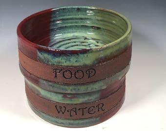 Medium Dog dishes - Pottery Pet Bowls - Ready to Ship - FOOD and WATER - Brick and Jade- ceramics - pottery - stoneware - pets - feeding