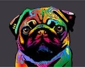 16x22 Canvas Pug Dog 1278