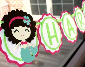 Mermaid Birthday Party Decor - Mermaid Birthday Banner - Mermaid Baby Shower Decorations - Mermaid Name Banner - Mermaid 1st Birthday Party