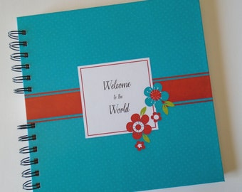 Baby Book |  Baby Memory Album | Red and Teal Floral Wire Bound Baby Memory Book