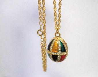 Rhinestone Egg Pendant Necklace - Enamel Egg - Gold Tone Chain