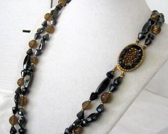 Black Necklace -  Hematite Beads - 2 Strand - Decorative Clasp