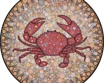"Crab Art Print, Mandala Art, Crab Print, Circle Print, ""Crab Bubblewheel"""
