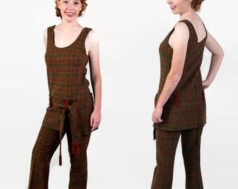 On Sale 60s Junior House Tunic Flare Leg Pants Plaid Boho Hippie Chic