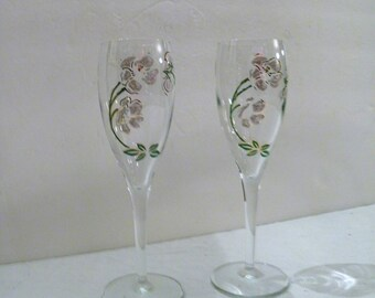 Pair of  PERRIER JOUET White Pink Belle Epoque Champagne Flutes Hand Painted