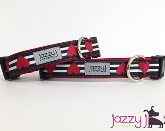 Red Hearts on Black and White Stripes Dog Collar
