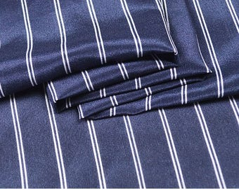 """Crepe de Chine silk fabric, dark blue stripes,  45"""" 12m/m, classic silk Fabric for Dresses, shirts, blouse, by the yard"""