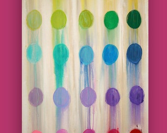 """Art, Large Painting, Original Abstract, Acrylic Paintings on Canvas by Ora Birenbaum Titled: Color Me Happy 24x36x1.5"""""""