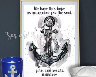 Anchor Hope watercolor print instant digital download 5 x 7 You Print