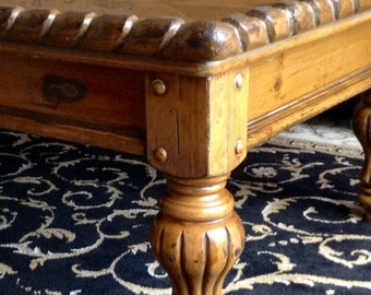 Large Farmhouse Chic Ornate  Rectangle Chunky Coffee Table