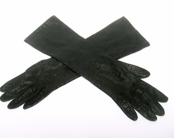 SAKS FIFTH AVENUE Ebony Leather Gloves Made in France