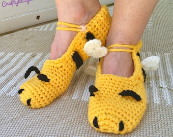 READY TO SHIP Bumble Bee Slippers - Adult Women's / Teens - One Size Fits Most