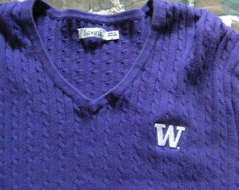 Womens University of Washington V Neck Sweater, UW Huskies V Neck Sweatshirt, UW Cardigan, Ashworth Large Golf UW Sweater