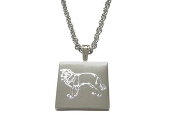 Silver Toned Etched Lassie Dog Pendant Necklace