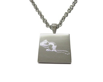 Silver Toned Etched Chipmunk Necklace
