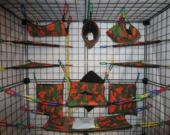 17  Pc  -  Orange Camo - Sugar Glider Cage Set
