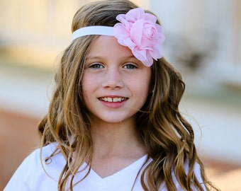 Pink Chiffon Rose Headband - Flower Headband, Baby Headband, Soft Headband, Pink Flower Headband, Infant Headbands, Pink Headband