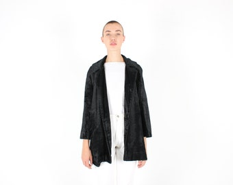 70s Velvet / Faux Fur Fluffy Plush Textured MINIMAL BLACK A Line Swing Coat / Jacket