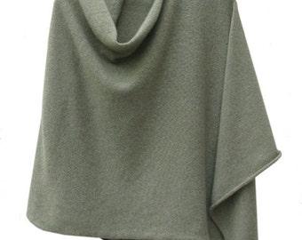 Glen (sage green) 3ply cashmere poncho
