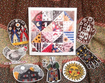 Folk Art greeting card and set of 7 stickers