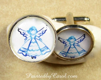 Angel Cufflinks, Angel Mens Gifts, Angel Suit Accessories, Angel Wedding Jewelry, Angel Bridal jewelry, Angel Groomsmen Gifts, Grooms Gifts