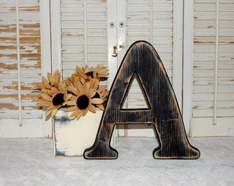 Wooden Letter A Distressed Wood letters Made To order Wall Letters