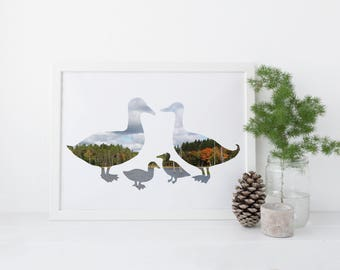 Duck Printable: Digital Download, Ducklings, Nature, Animal Silhouette, Photograph. Pond Ducks