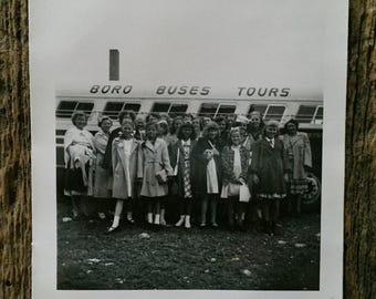 Original Vintage Photograph Girls Field Trip