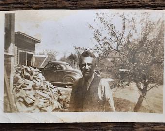 Original Vintage Photograph Man. Car. Tree. Chopped Wood.