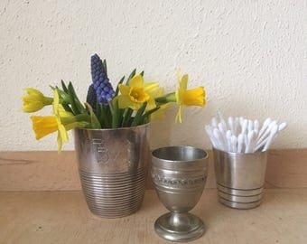 Christofle Silver Plate Collection,Art Deco Cup Monogrammed RB and  Shot Glass ''Ondulations'',  Lovely Decorated Egg Cup