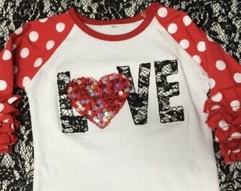 Toddler Girls Ruffle Sleeve Polka Dot LOVE Valentine Applique Heart 3D Sequins