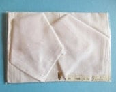 Set of 3 pieces German Vintage White Cotton Handkerchiefs with White Stripes - New and unused