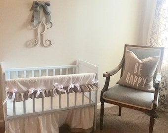 New canvas crib skirt with burlap accent and bumper set