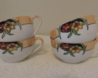 FOUR 4 Vintage Luster Ware Tea Cups ONLY Made in Japan Stylized Floral Pattern Romantic Table Wedding Table Tea Party Punch Cups Lustreware