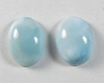 Larimar 12 x 16 oval cabochon pair,  ring size cab, natural, rare blue cabochon, small cabochon, paired for earrings.  (l143071)