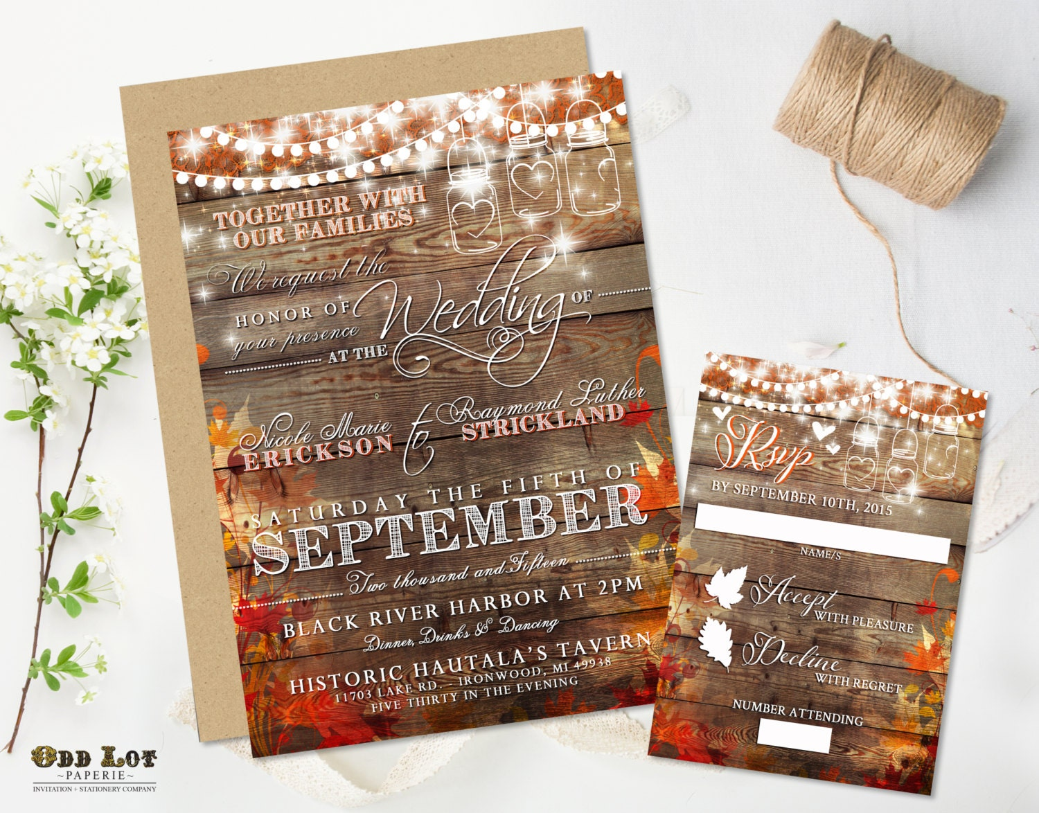 fall wedding invites autumn wedding invitations Rustic Wedding Invitation Fall Wedding Invite Country Wedding Mason Jar String Lights Autumn Leaves DIY Printable Rustic Wedding Set Digital