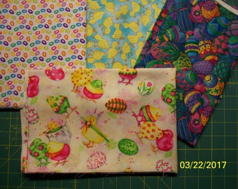 Easter Prints 100% Cotton Fabric, Fat Quarters, Chicks, Ducklings, Easter Eggs, Baskets