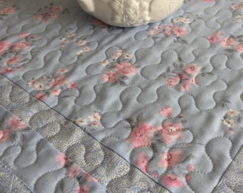 Shabby Chic Table Topper Quilt, Blue, Pink, Flowers, Table Topper Quilt, Handmade Table Runner Quilt