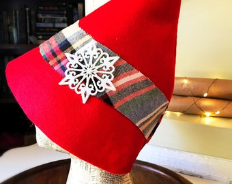 Snowflake Plaid Elf Hat