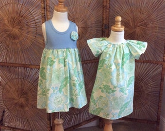 SiSTER SET ....girls tank style dress with coordinating flutter sleeve dress in Amy Butler  fabric...sizes 6 months - 8 year