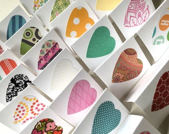 Mini LOVE NOTES ... 50 Tiny Square Heart Cards Colorful Assortment Blank Notes Small Thank You Gift Cards Folded Messages Cute Stationery